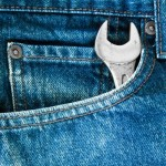 Picture of jeans pocket with a single wrench
